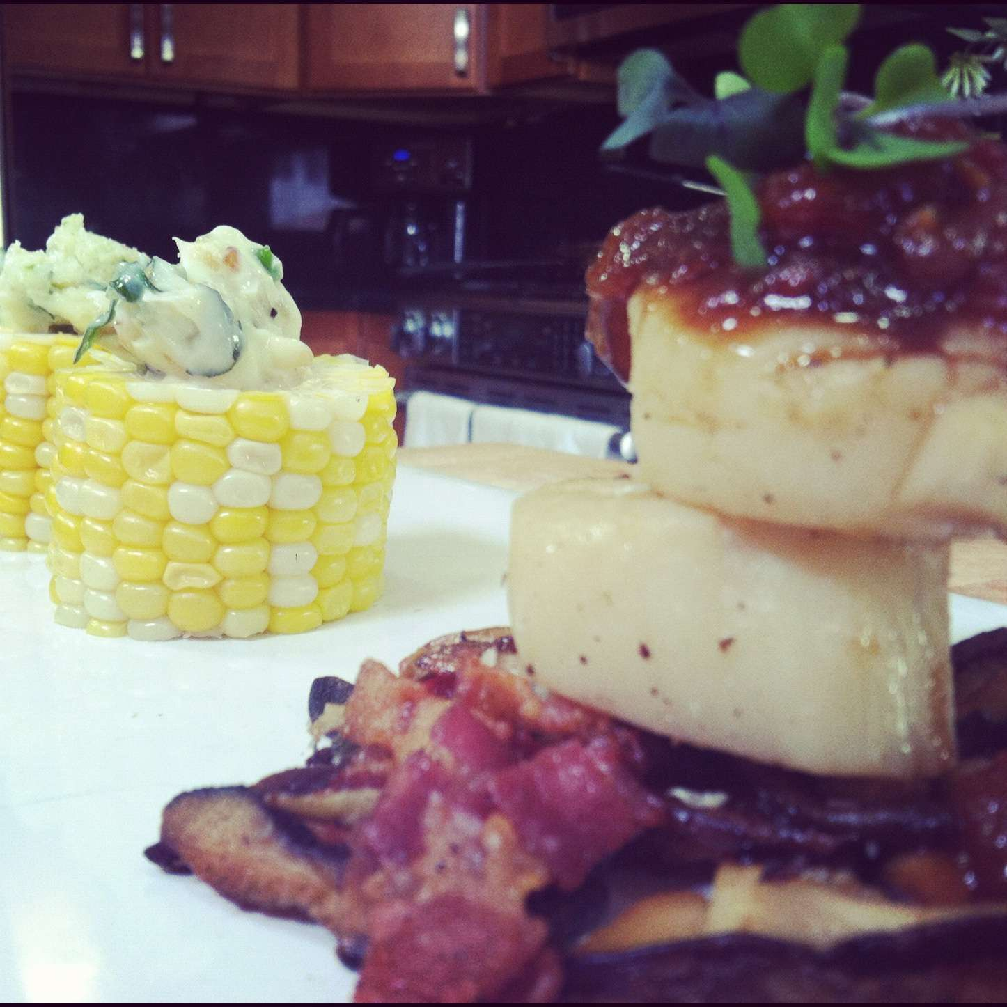 Grilled Scallops with Tomato Jam and Grilled Corn