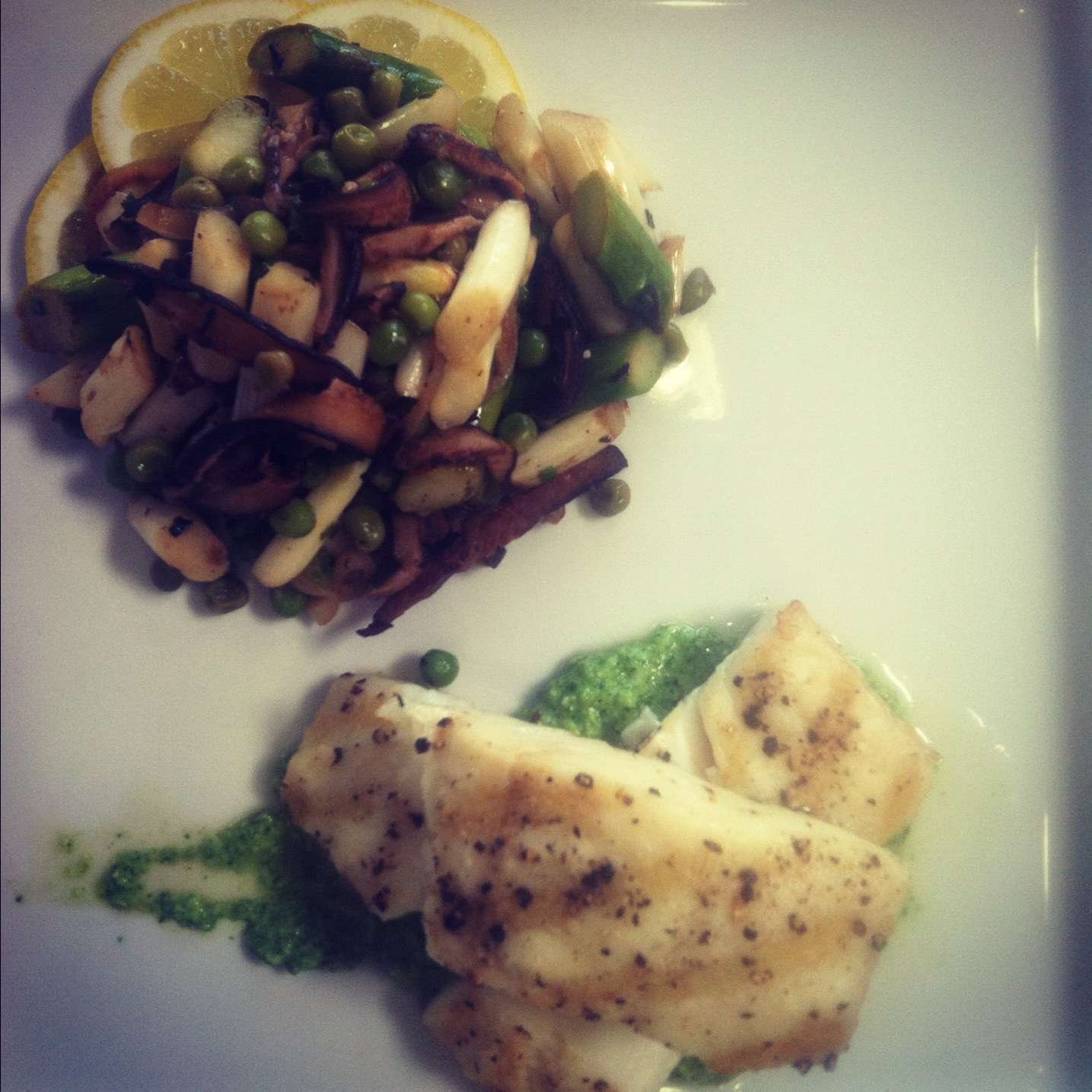Grilled Halibut with Spring Vegetables & Arugula Pesto